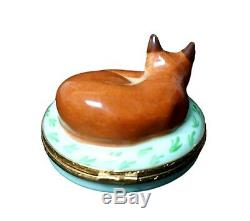 Artoria Limoges Porcelain Hand Painted Limited Edition Fox Trinket Box