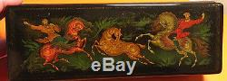 Authentic Russian hand painted Palekh Lacquer box #402. DEER HUNTING 1989