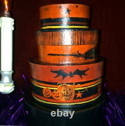 Awesome OOAK Hand Painted Halloween Nesting Boxes by Ellie 2001, Tons of Detail