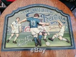 Beautiful Large Vintage Hand Carved football Sign Country Corner pub man cave