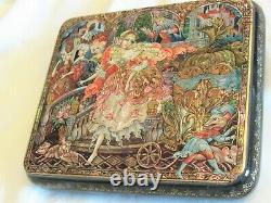 Beautiful Russian Lacquer box Cinderella Kholui- Mother of Pearl, Hand Painted