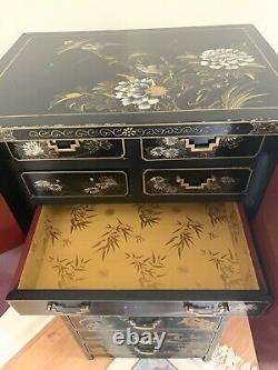 Black Lacquer Hand Painted Jewelry And Lingerie Chest from Oriental Furnishings