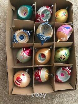 Box 12 Vintage Poland Glass Christmas Ornaments Mica Hand Painted Indents