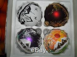 Box of 4 Christmas Tree Baubles 100mm Hand painted
