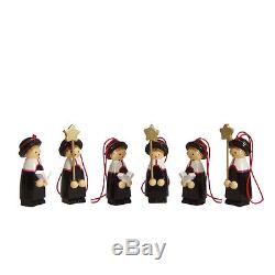 Box of Six Wooden Vintage Miniatures Ornaments Christmas Carolers Handpainted