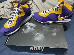 Brand new with box Nike Lebron 8 Lakers Size 10.5 Men In hand, Ship next day