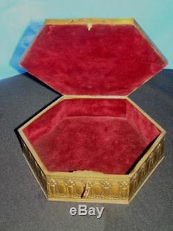 Bronze Box Hand painted French Antique jewelry trinket velvet fabric interior
