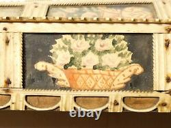 C1800 Napoleonic Prisoner of War Hand Carved Games Box 14 Painted Panels a/f