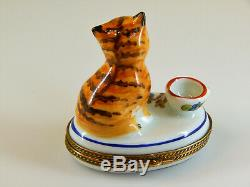 CHAMART France Limoges Hinged Lid Trinket Box, Orange Cat with Hand Painted Mice