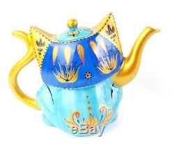 Cat Teapot Ceramic, Hand Painted Blue & Gold Boxed