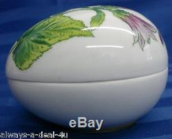 Chamart Limoges France Hand Painted Purple Floral Egg / Jewelry / Trinket Box