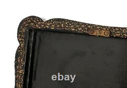 Chinese Antique Tea Caddy Black Lacquer & Gold with Decorative Lead Interior
