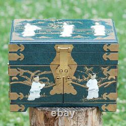 Chinese Black Lacquer Mother-Of-Pearl Geisha Girl Jewelry Box Chest