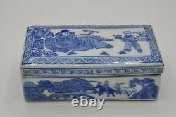 Chinese Blue And White Porcelain Box Hand Painted