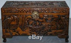 Chinese Japanese Export Claw & Ball Vintage Chest Trunk Box Cranes Rural Schenes