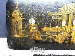 Chinese Qing Dynasty Hand-painted 8 Immortals Wooden Lacquered Box WOW