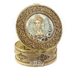 Continental Gilt Bronze Portrait Trinket Box, Signed c. 1920 Hand Painted Woman