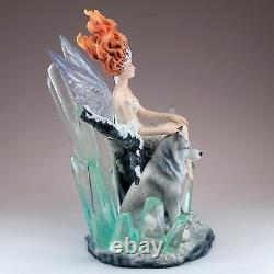 Crystal Fairy With Wolf Figurine Statue 9.5 High New In Box