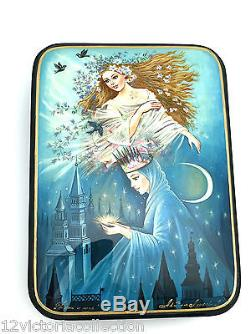 DAY and NIGHT Russian Hand Painted Fedoskino LACQUER BOX Museum quality