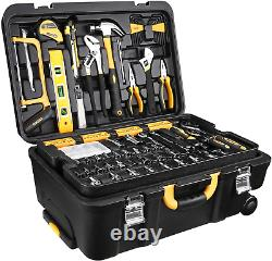 DEKOPRO 258 Pcs Tool Kit with Rolling Tool Box Socket Wrench Hand NEW FREE-SHIP