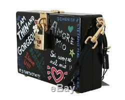 DOLCE & GABBANA Bag Purse Hand Painted Wooden Black BOX SICILY Leather RRP $2600