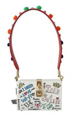 DOLCE & GABBANA Bag Purse Hand Painted Wooden White BOX SICILY Leather RRP $2600