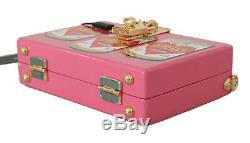 DOLCE & GABBANA Bag Purse Wooden AMORE Can Motive Pink Clutch Box RRP $2600