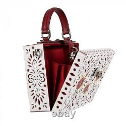 DOLCE & GABBANA Hand Painted Poppy Plexi DOLCE BOX Bag Clutch White Red 08999