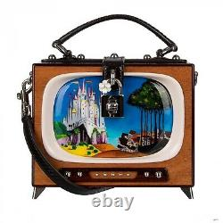 DOLCE & GABBANA Retro TV Fairytale Hand Painted Wood DOLCE BOX Bag Brown 09592
