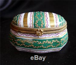 Decorated HP Porcelain Trinket Box, Hand Painted in Paris