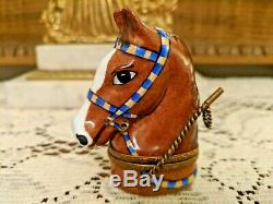 EQUESTRIAN HANDPAINTED LIMOGES FRANCE HORSE HEAD TRINKET BOX WithRIDING CROP CLASP