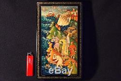 Early 1970s vintage USSR russian hand painted palekh lacquer box, Mstera. BIG