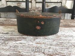 Early Antique Bentwood Folk Art Brides Box Original Hand Painted Green Floral