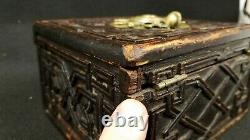 Early Antique Hand Carved Wood Box with Heraldic Armorial Cast Bronze Decoration