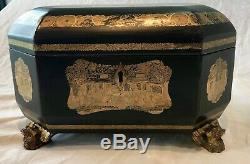 English Regency Chinoiserie Lacquerware Tea Caddy, Hand Painted Gold, c. 1810