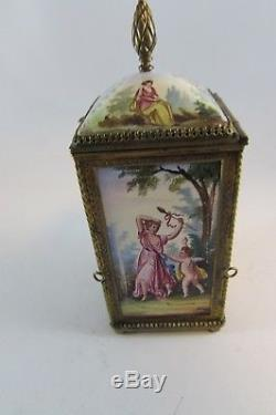 Estate Antique Gorgeous Viennese Hand Painted Enameled Box Vienna Austrian