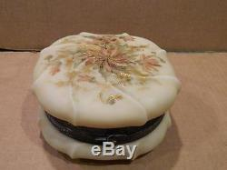 Ex Large Wave Crest Dresser Jewelry Box Hand Painted Flowers Antique