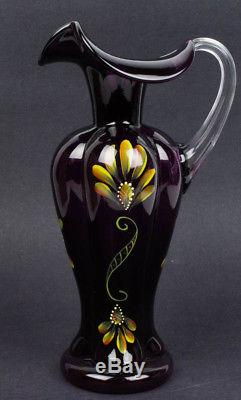 FENTON GLASS AUBERGINE MELON PITCHER HAND PAINTED & SIGNED T. NEADER #/500 WithBOX