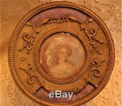 FRENCH ORMOLU & GUILLOCHE HAND PAINTED LADY PORTRAIT BOX, CASKET, JAR With LINER