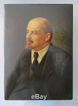 Fedoskino Lenin Soviet Signed Vintage RUSSIAN BOX Hand Painted Lacquer 1952