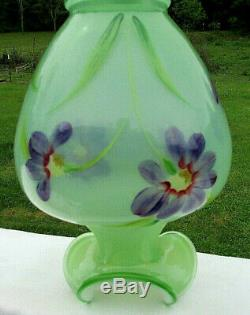 Fenton Art Glass Green Splendor Hand Painted Purple Floral Vase 9H New in Box