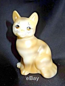 Fenton Art Glass Hand Painted Natural Tiger Sitting Cat New in Box