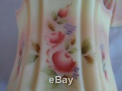 Fenton Burmese Hand Painted Artist Signed Floral Vulcan Candy Jar Box 2005 QVC