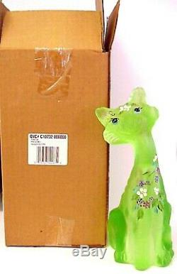 Fenton Glass Key Lime Alley Cat QVC Exclusive Limited Edition Mint In Box