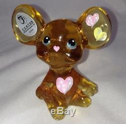 Fenton Glass Yellow Mouse Hand Painted Signed withSticker New Gift Box 81t5