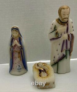 Fenton Nativity Set First Edition 22k Gold Accents Hand Painted & Signed, No Box