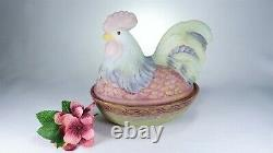 Fenton ROOSTER on NEST Box Large Folk Art Animals 8 1/2 L HP and Signed 1999