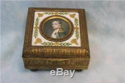 Footed Antique Dore French Porcelain Box with Napoleon Bonaparte Hand painted
