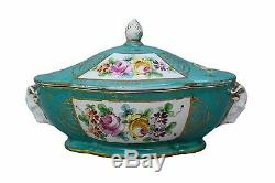 French Antique Hand Painted Meissen Style Porcelain Box Tureen Dish Ram Head