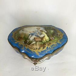 French Antique Sevres Porcelain Hand Painted Jewelry Box/ Dresser Casket